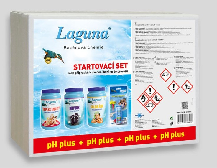 Startovací set pH+  Laguna (triplex tablety, pH+, chlor šok, tester)